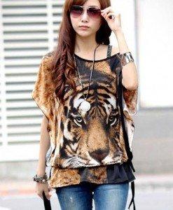 BL419-99 Bluza de vara cu maneci scurte si model tigru - Bluze - Haine > Haine Femei > Bluze > Bluze