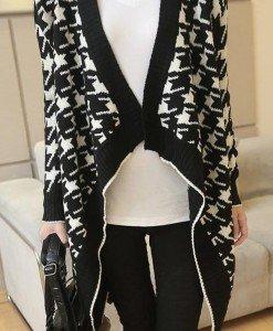 BL481-1122 Cardigan drapat cu maneci lungi si model - Cardigane - Haine > Haine Femei > Bluze > Cardigane