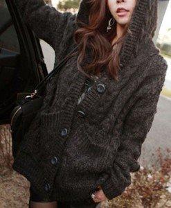BL494-1 Cardigan tricotat cu gluga si nasturi - Cardigane - Haine > Haine Femei > Bluze > Cardigane