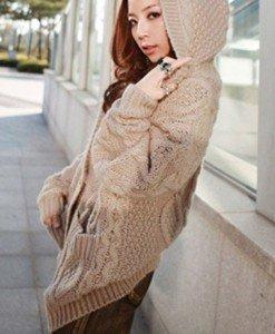 BL494-14 Cardigan tricotat cu gluga si nasturi - Cardigane - Haine > Haine Femei > Bluze > Cardigane
