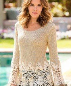 BL559-14 Bluza eleganta accesorizata cu dantela florala - Bluze - Haine > Haine Femei > Bluze > Bluze