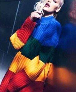 BL560 Pulover tricotat model curcubeu - Bluze - Haine > Haine Femei > Bluze > Bluze