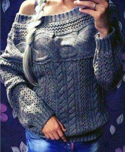 BL574-18 Pulover tricotat cu torsade si guler tip barcuta - Bluze - Haine > Haine Femei > Bluze > Bluze