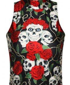 BL612 Maieu scurt cu model craniu si trandafiri - Altele - Haine > Haine Femei > Costume Tematice > Altele