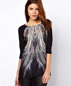 BL625-1 Bluza asimetrica cu maneci treisfert si model - Bluze - Haine > Haine Femei > Bluze > Bluze