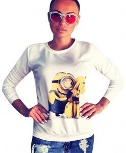 BL640 Bluza casual cu model Minion - Banana Love - Bluze - Haine > Haine Femei > Bluze > Bluze