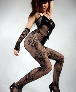 BS214-1 Lenjerie sexy tip bodystocking din plasa si cu model floral - Bodystockings