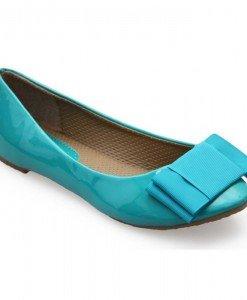 Balerini lacuiti de culoare turquoise cu funda - Home > Reduceri -