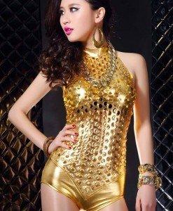 C389-7 Body sexi auriu cu decupaje - Lenjerie body - Haine > Haine Femei > Lenjerie intima > Lenjerie body