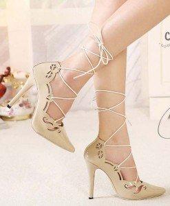 CH2283-15 Pantofi cu toc inalt si prindere cu sireturi - Pantofi Dama - Incaltaminte > Incaltaminte Femei > Pantofi Dama
