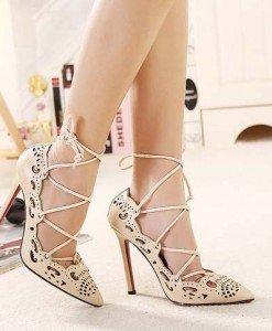 CH2284-15 Pantofi cu toc inalt si prindere cu sireturi - Pantofi Dama - Incaltaminte > Incaltaminte Femei > Pantofi Dama
