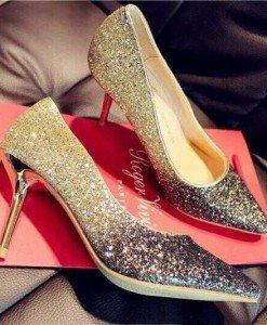 CH2312-7 Pantofi eleganti cu varf ascutit si insertii aurii - Pantofi Dama - Incaltaminte > Incaltaminte Femei > Pantofi Dama