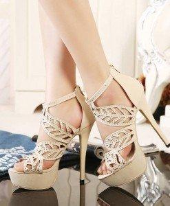 CH2362-15 Sandale elegante cu toc inalt si strasuri - Sandale dama - Incaltaminte > Incaltaminte Femei > Sandale dama