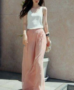 CL372-5 Pantaloni largi cu talie inalta - Pantaloni Lungi - Haine > Haine Femei > Pantaloni Dama > Pantaloni Lungi