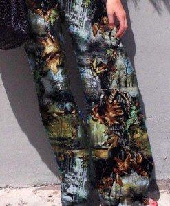 CL428 Pantaloni largi de vara cu print retro palazzo - Pantaloni Lungi - Haine > Haine Femei > Pantaloni Dama > Pantaloni Lungi