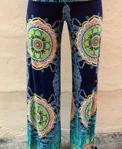 CL429 Pantaloni largi de vara cu print preppy palazzo - Pantaloni Lungi - Haine > Haine Femei > Pantaloni Dama > Pantaloni Lungi