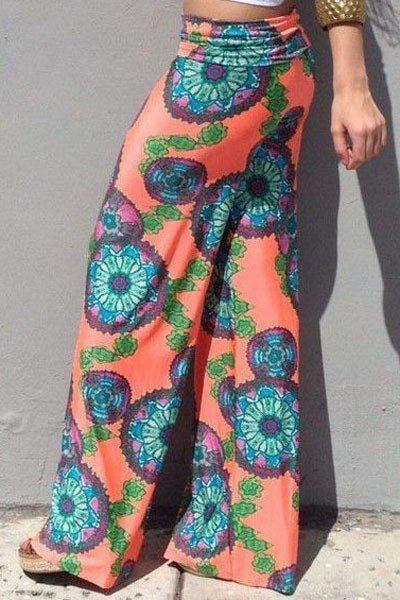 stiluri proaspete cea mai recentă cauta CL431 Pantaloni largi de plaja cu print floral Haine > Haine Femei > Pantaloni  Dama > Pantaloni Lungi, Pantaloni Lungi - Fashion Sales