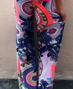 CL434 Pantaloni model palazzo cu print floral - Pantaloni Lungi - Haine > Haine Femei > Pantaloni Dama > Pantaloni Lungi