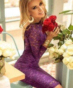 G336-10 Rochie eleganta cu dantela si lantisoare aurii la spate - Rochii cu dantela - Haine > Haine Femei > Rochii Femei > Rochii de seara > Rochii cu dantela