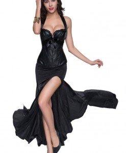 G382-1A Compleu elegant din corset si fusta lunga cu crapatura pe picior - Top si fusta - Haine > Haine Femei > Compleuri > Top si fusta