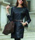 GP1-1 Rochie din imitatie piele cu maneci lungi - Rochii de zi - Haine > Haine Femei > Rochii Femei > Rochii de zi