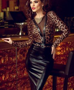 J435 Rochie midi model animal print