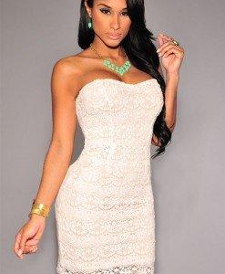 L435-2 Rochie eleganta cu dantela crosetata