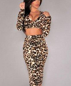 P337-99 Compleu sexy cu top si fusta animal print - Top si fusta - Haine > Haine Femei > Compleuri > Top si fusta
