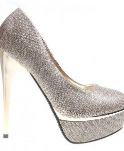 Pantofi aurii cu platforma Cassandra - Home > Pantofi -