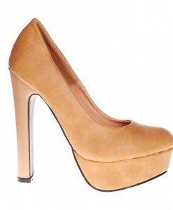Pantofi camel cu platforma Dione - Home > Pantofi -