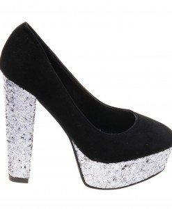 Pantofi de dama black velvet Party - Home > Reduceri -