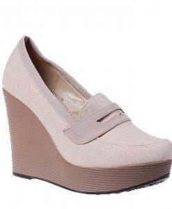 Pantofi platforma Doria beige - Home > Pantofi -
