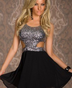 Q251-6 Rochie de seara cu paiete - Rochii accesorizate - Haine > Haine Femei > Rochii Femei > Rochii de club > Rochii accesorizate