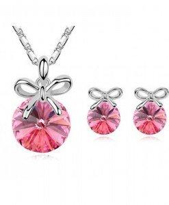Set de bijuterii cu cristale Swarovski Little Bow Pink - Genti  > Bijuterii -