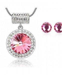 Set de bijuterii cu cristale Swarovski Massive round pink - Genti  > Bijuterii -
