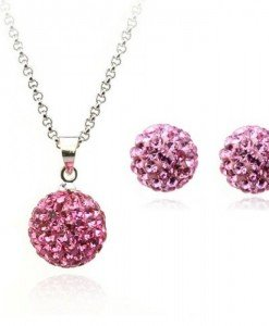 Set de bijuterii cu cristale Swarovski Shamballa Indian Pink - Genti  > Bijuterii -