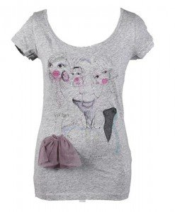 T-shirt gri cu mov Sisley - Home > OUTLET -