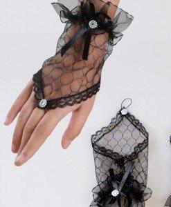 V124-1 Manusi scurte pe un deget cu fundita - Manusi - Haine > Haine Femei > Produse Mirese > Accesorii > Manusi