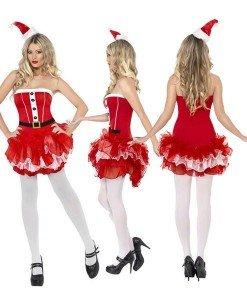 XM191 Costum Craciunita din rochie scurta cu tul - Costume de craciunita - Haine > Haine Femei > Costume Tematice > Costume de craciunita