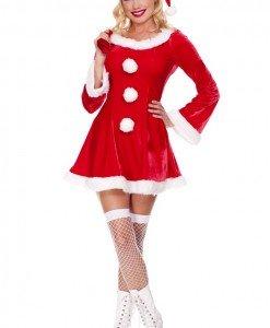 XM267 Costum tematic craciunita sexy cu caciulita - Costume de craciunita - Haine > Haine Femei > Costume Tematice > Costume de craciunita