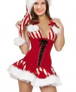 XM299 Costum tematic craciunita cu corset tip bra cu inchidere cu snur in fata - Costume de craciunita - Haine > Haine Femei > Costume Tematice > Costume de craciunita