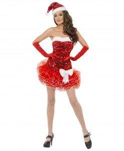 XM316-3 Costum tematic Craciunita tip rochie cu paiete si tul - Costume de craciunita - Haine > Haine Femei > Costume Tematice > Costume de craciunita