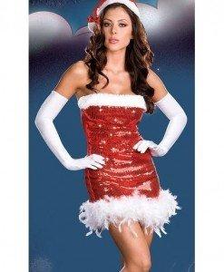 XM333-3 Costum Craciunita din rochie scurta cu paiete - Costume de craciunita - Haine > Haine Femei > Costume Tematice > Costume de craciunita