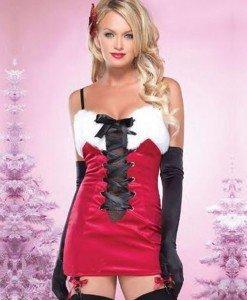 XM337 Costum tematic de Craciunita cu snur negru in fata - Costume de craciunita - Haine > Haine Femei > Costume Tematice > Costume de craciunita