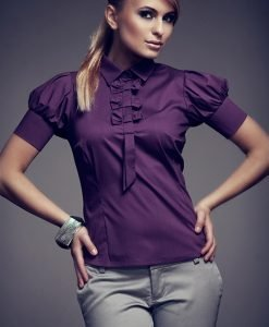 Aubergine Collared Blouse with Bow Details and Pleated Cap Sleeves - Blouses > Blouses Short Sleeve -