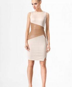 Beige Bodycon Dress With Asymmetrical Leather Feature - Dresses -