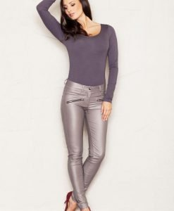Beige Faux Leather Stretch Skinny Pants with Slant Zipper Pockets - Trousers -