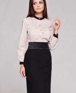 Beige High Neck Button Down Blouse - Shirts > Shirts Long Sleeve -