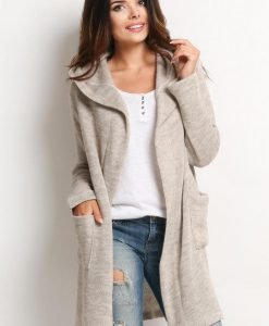 Beige Hooded Cardigan with Side Pockets - Sweaters -