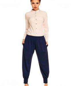 Beige Mandarin Collar Button Down Shirt for Women - Shirts > Shirts Long Sleeve -